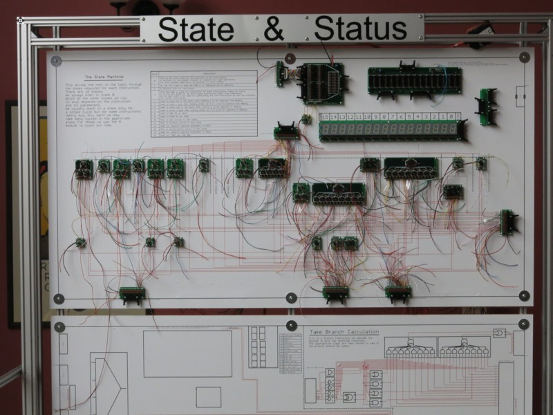 mega processor state machine with boards and wiring, before connection